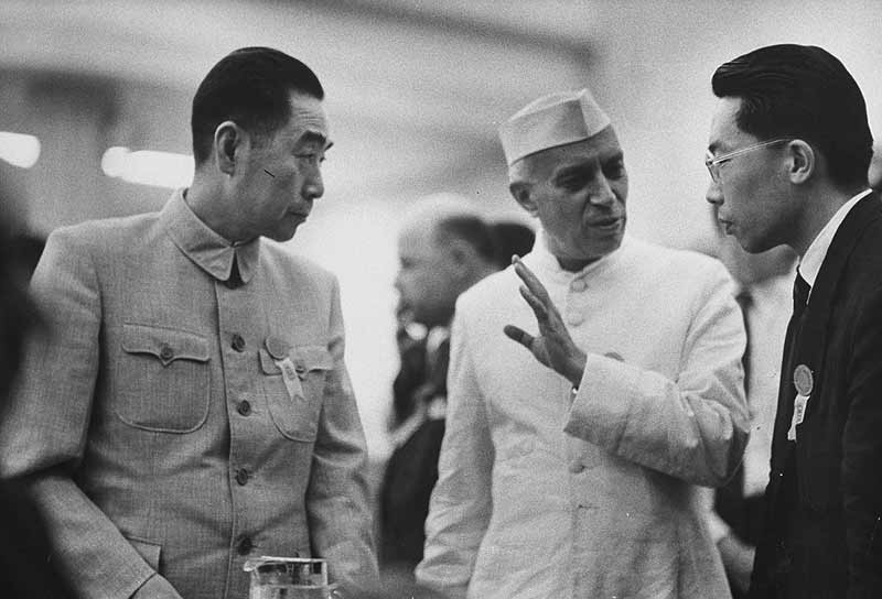 Jawaharlal Nehru with Zhou Enlai (left), at the Bandung conference, 1955.